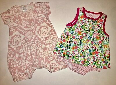 *Lot Of 2* Tesa Babe / Zutano Baby Girl  6-12m BOUTIQUE Rompers Dress 12 Months