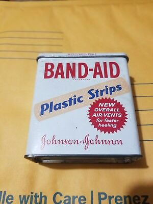 Vintage Johnson & Johnson Band-Aid Plastic Strips Metal Tin In Great Shape!!!