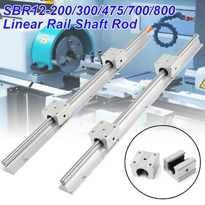 2pcs SBR12-200 300 475 700 800mm Linear Rail Shaft Rod + 4 SBR12UU Bearing Block