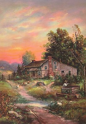 Vintage Rustic Farm House Scene ~ Red Sunset Lithograph Art Print 7X10 *unused