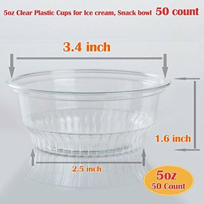 5 oz Clear Plastic Cups for Ice Cream, Snack bowl no lids (50 count)