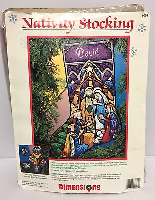 Dimensions Christmas Needlepoint Stocking Kit Nativity Stained Glass  #9092 1984