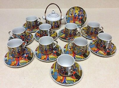 Vintage Colorful Japanese Demitasse Fine China Tea set Of 23 Pieces 10 Places