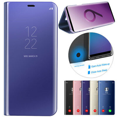 For Samsung S10 S9 Plus Luxury Smart Mirror View Hard Flip Case Stand Cover