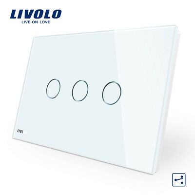 LIVOLO AU Type Light Switch Power Wall 3 Gang 2 Way Touch Switch White