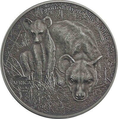 SPOTTED HYENA SILVER OUNCE 2018 -  Congo 1000 Francs antique finish 1 Oz coin