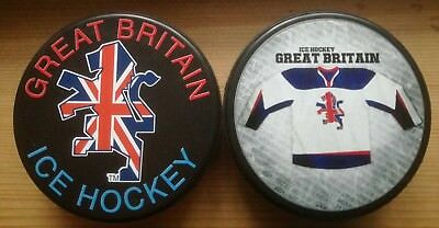 Great Britain ice hockey lot, 2 x Ice Hockey puck