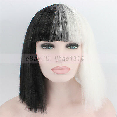 2-6 Days Ship Halloween Wig Costume Party Straight Bob Half Black and Half White