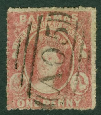 SG 4 Bahamas 1861 1d lake rough perf 14-16, no WMK. Very fine used 'A05'...