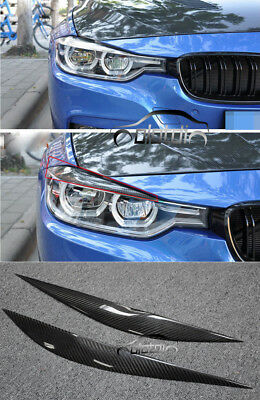 Eyelids Eyebrows Front Head Light Covers Fit Carbon Fiber For Bmw
