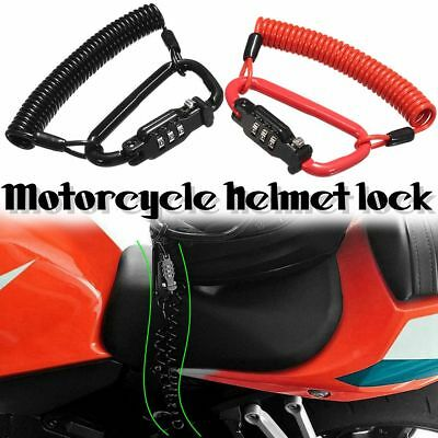 Motorcycle Scooter Security Helmet Combination Coded PIN Lock+T-Bar Rubber Cable