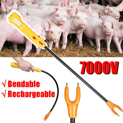 Cattle Prod Bendable Rechargeable Electric Shock Voltage 7000V 83cm Yellow
