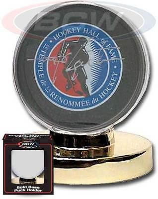 Ice Hockey Puck Display Holder With Gold Base