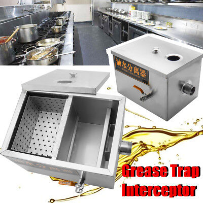 Stainless Steel Grease Trap Interceptor Fats Oils Restaurant Kitchen Wastewater