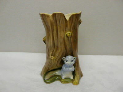 Vintage Hornsea Pottery Wall Pocket Vase - Grey Squirrel on Tree Trunk
