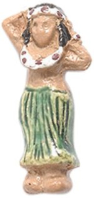 Shipwreck Peruvian Hand Crafted Ceramic Hula Dancer Girls Beads, 9 by 19mm, 4