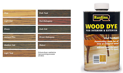 Rustins Wood Dye for Interior & Exterior 250ml 12 Colours Including NEW WHITE!