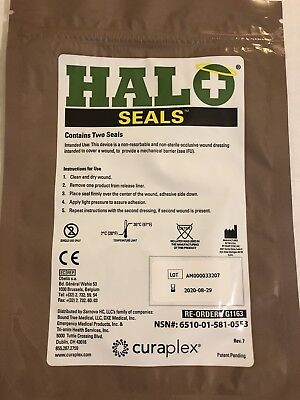 Halo Chest Seals (2 Per Package) Exp 2020 - Military EMS Medic Supply