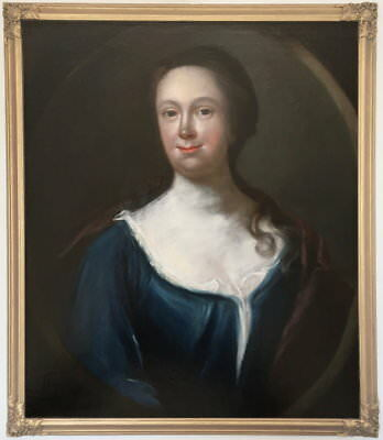 Portrait of a Young Lady Antique Oil Painting 18th Century English School