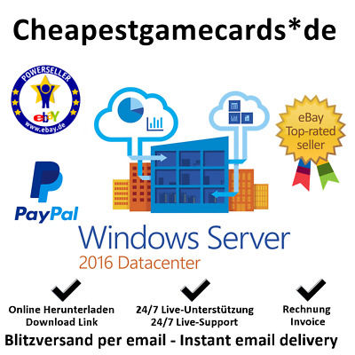 Windows Server 2012/2016 Ess/Stand/Data/ RDS CAL (User & Device) key per email