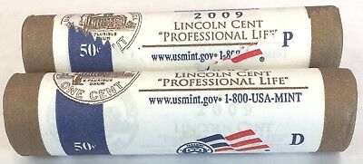 2009-P&D  LINCOLN CENT Professional Life U.S.MINT WRAPPED ROLL SET