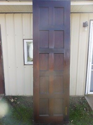 "Antique Vintage Solid Wood Wooden Door 10 Panel year 1909 size  30.1/8""x101"""