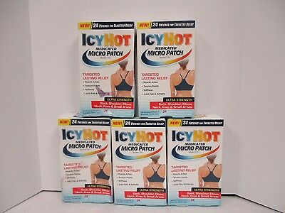"""5 Icyhot Medicated Micro Patch 24(2.56"""" X 1.65"""") Patches Each Exp 5/18 De 4128"""