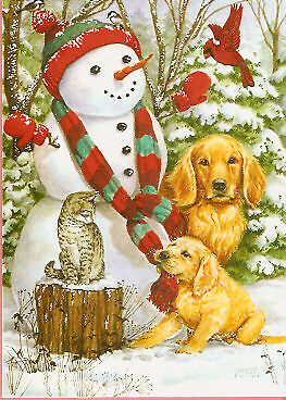 golden retriever cat and snowman christmas cards box of 18