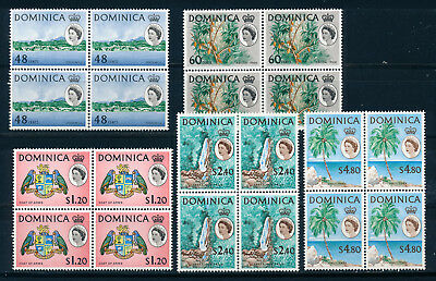 Dominica 1963 Definitives Sg174/178 (High Values) Blocks Of 4 Mnh