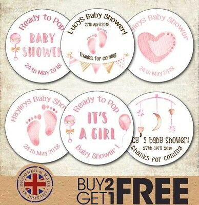 24x 40mm Personalised New Baby Shower Birth Girl Christening/Naming Day Stickers