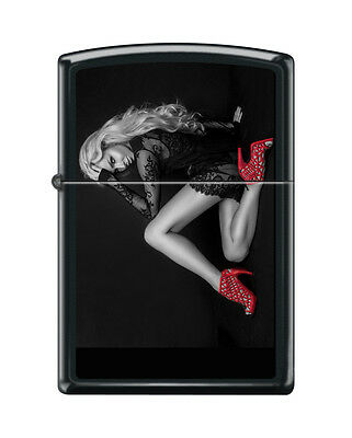 """Zippo """"Red Shoes-Blonde Sexy Woman"""" Lighter, Black Matte Finish, 3650"""