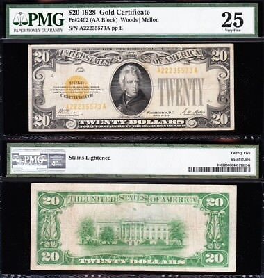 VERY NICE Bold Mid-Grade VF 1928 $20 GOLD CERTIFICATE! PMG 25! FREE SHIP! 35573A