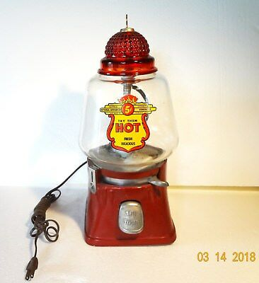 Vintage Red Silver King Coin Op Peanut Vending Machine, 5 Cent, Works Great