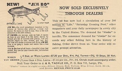 Postal Card Illustrated Ad for Fishing Lures Used 1954