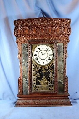 E Ingraham Antique Rare Mantle Parlor Clock Original Beautiful, Runs Great