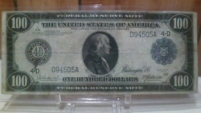 1914 $100 federal reserve note, large size, Franklin profile, tough find, nice!