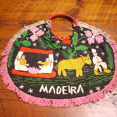 Vtg MADEIRA Portugal Handmade Wool Crewel Embroidered Tropical Bermuda PURSE