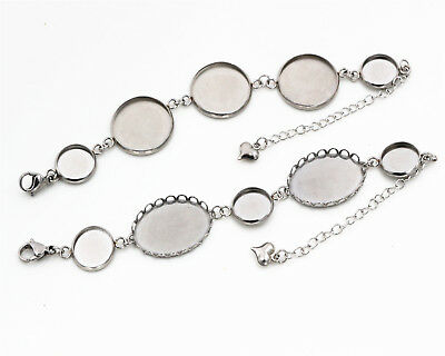 Stainless Steel Bracelet Blanks | 2 Choices of  Cabochon Setting Sizes