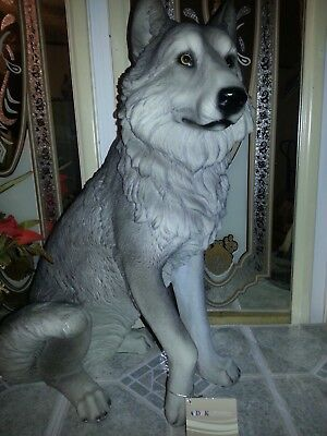Beautiful Collectible Life Size Wolf  Statue