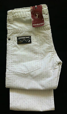 SARABANDA young girls stripes white trousers sz 10 years cotton