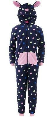 Chili Peppers Girls Blue Dots Hooded Critter One-Piece Pajamas
