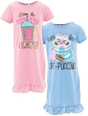 Sweet N Sassy Girls Cat-Puccino Pink Blue 2-Pack Nightgown