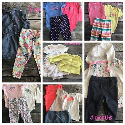 Carter's Baby Girl Lot - Size 3 months - 7 sets! 19 pieces! FREE SHIPPING! 🌸