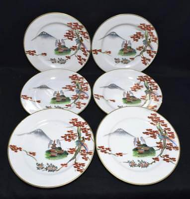 Antique Japanese Porcelain Side Plates x6 c1900s