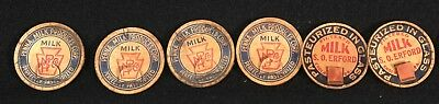 6 VINTAGE MILK BOTTLE TOP LABEL CAPS Penna Milk Products/S.O. Erford, Enola, Pa