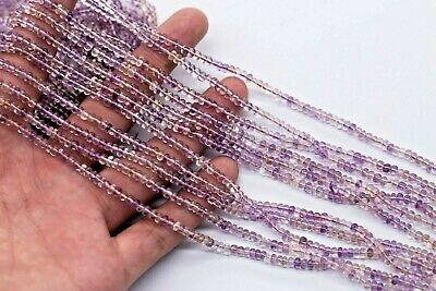 03- AAA+ Ametrine Natural Gemstone Rondelle Plain Smooth Polished Beads 34cm 4mm