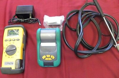 UEI Eagle C75 Combustion Analyzer with Printer, Probe,case and Manometer EM 151