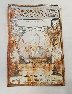 1901 Teddy Roosevelt for Winchester Rifles Vintage Tin Sign - 30-30