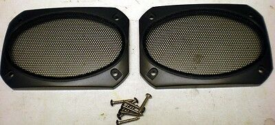 "4x6"" Two - 2 Black Speaker Grills, Screens, Covers, Classic, Deluxe"