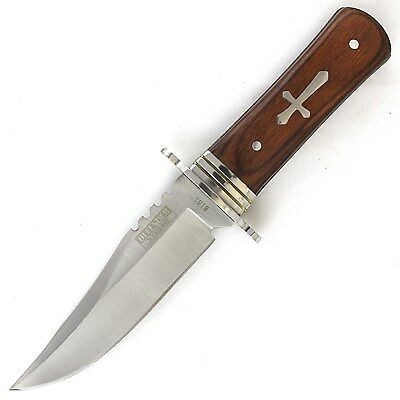 "8"" CELTIC CROSS FULL TANG HUNTING KNIFE w/ WOOD HANDLE Gothic Tactical Survival"